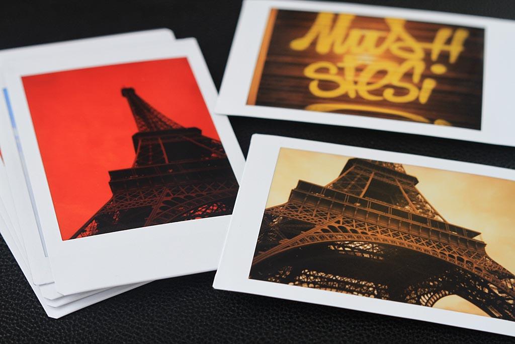 Photos au format Instax Mini prises avec des filtres de couleur.