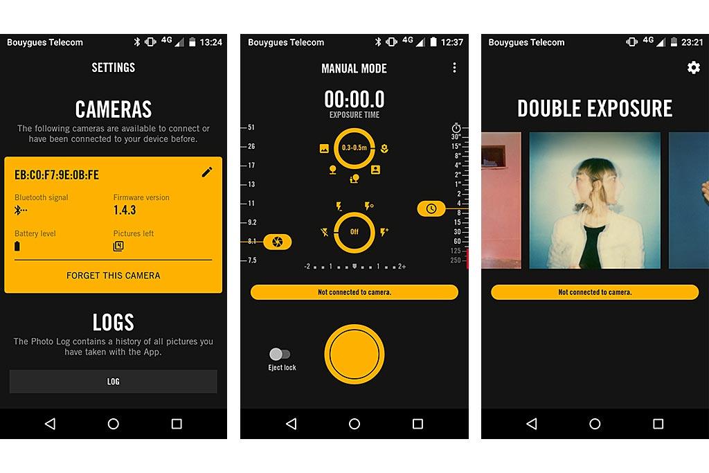 Quelques écrans extraits de l'application smartphone qui pilote le 1-1. De gauche à droite : statut de l'appareil, Mode Manuel et ses réglages, et galerie de sélection des modes.