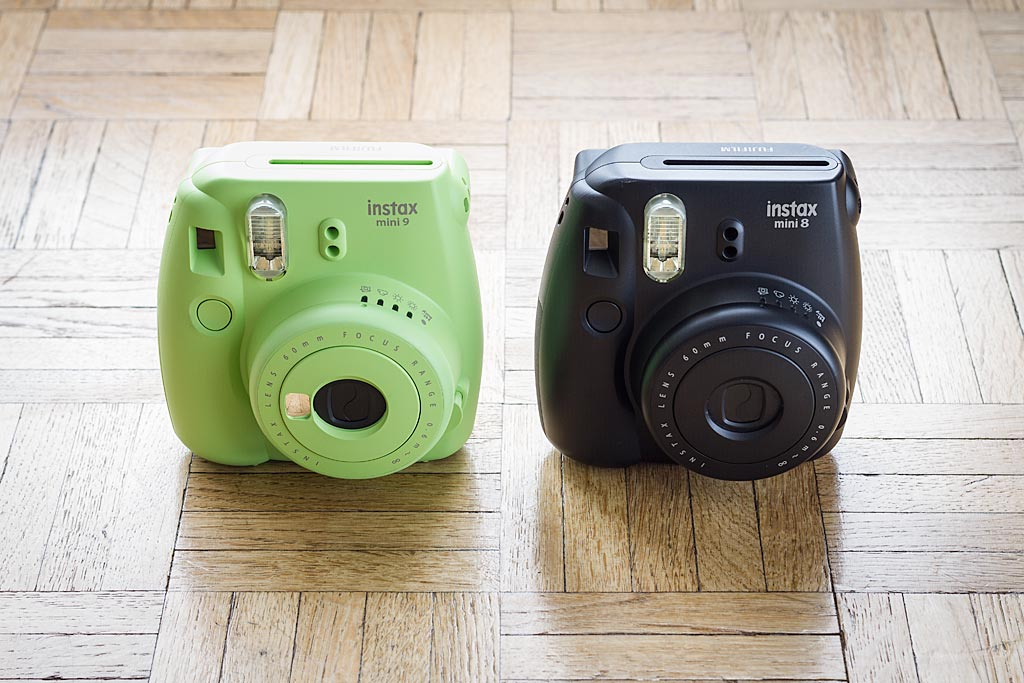 The Instax Mini 9 alongside its predecessor, the Instax Mini 8. The Mini 9 is clearly an upgrade of the 8, rather than a redesign of it.