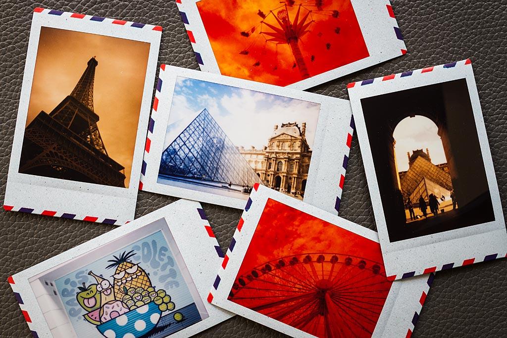 Une série de photos faites avec le film Instax Mini Airmail. La plupart ont été prises avec des filtres de couleur.