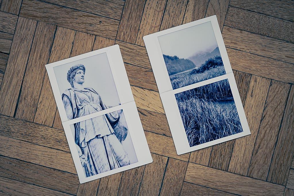 """A l'aide de la fonction """"Séparation de la photo"""", vous pouvez diviser une photo en deux moitiés qui vont être imprimées chacune sur une photo, ou bien composer des petits diptyques."""