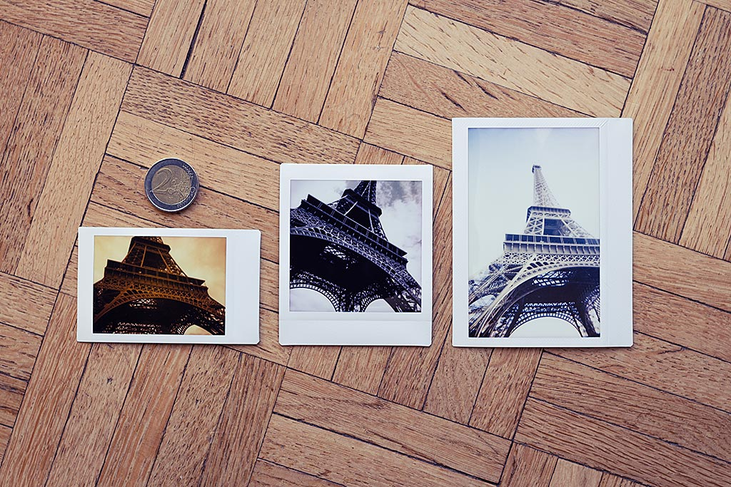 One subject, three different formats. From left to right, a picture shot with Instax Mini film, a second with Instax Square, and a third with Instax Wide.