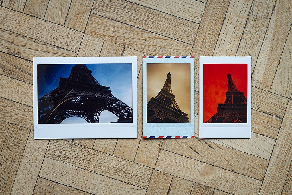 The Wide format, on the left, is as long as the Mini format, but wider. However, the Instax Mini allows more creativity and fantasy. The middle photo is taken with a special Airmail edition, and the two Mini photos are made with color filters.