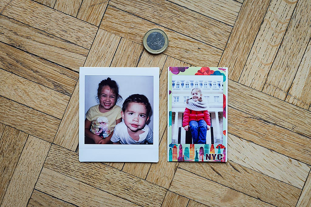 On the left, the Square format's area used for the image has the same height as the Instax Mini. The picture on the right is taken with a special Instax Mini edition.
