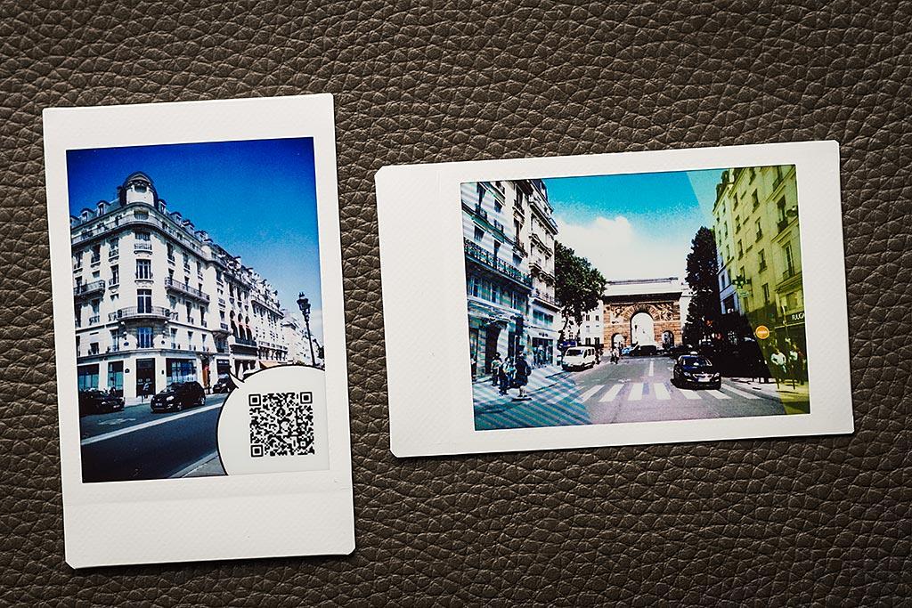 A gauche, une image associée à une séquence audio via un QR Code. A droite, un des filtres disponibles à la prise de vue.